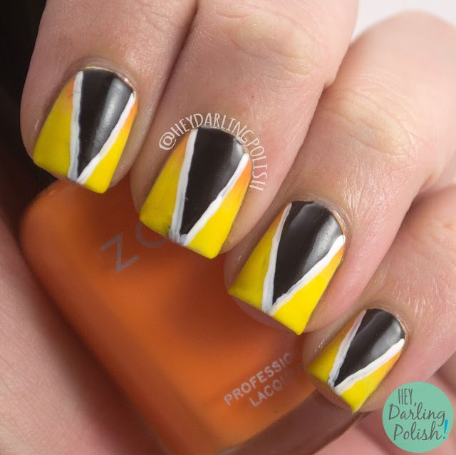 nails, nail art, nail polish, yellow, orange, black, triangle, 52 week challenge, hey darling polish, gradient, black, triangles