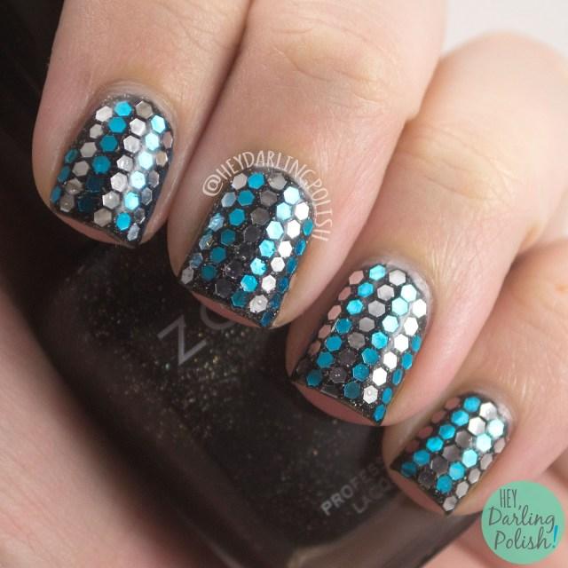 nails, nail art, nail polish, glitter, glitter placement, hey darling polish, blue, silver, black, birthday nails,