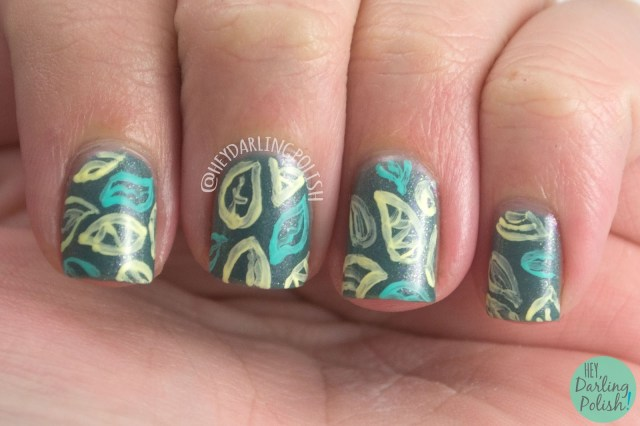 change your fate, teal, shimmer, leaves, nails, nail art, nail polish, indie polish, fair maiden polish, hey darling polish,