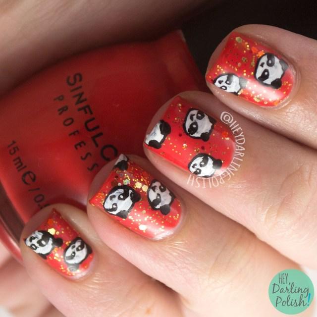 nails, nail art, nail polish, pandas, panda, orange, glitter, hey darling polish, naillinkup, nail art ideas linkup