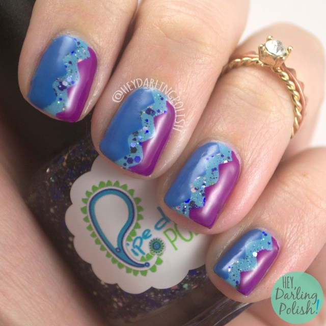nails, nail art, nail polish, zig zags, purple, blue, hey darling polish, 52 week challenge, zoya, pipe dream polish, indie polish, 52 week challenge