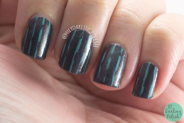 nails, nail art, nail polish, stripes, distressed, grey, hey darling polish, teal, 52 week challenge,