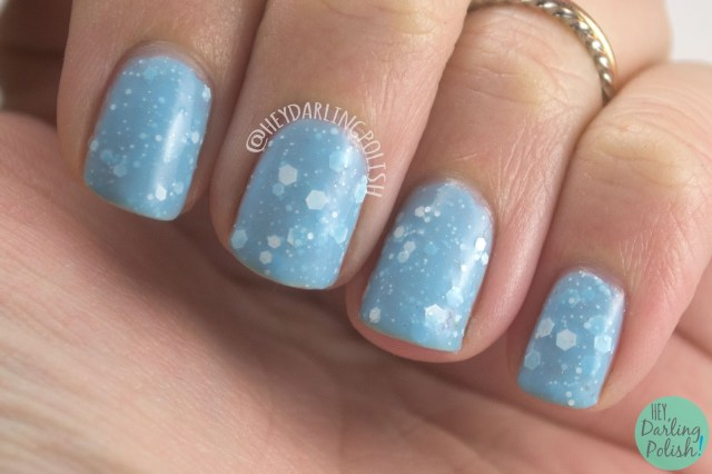glitter crelly, snow way!, blue, white, swatch, nails, nail polish, indie, indie nail polish, indie polish, kbshimmer, hey darling polish, winter collection 2014, holiday