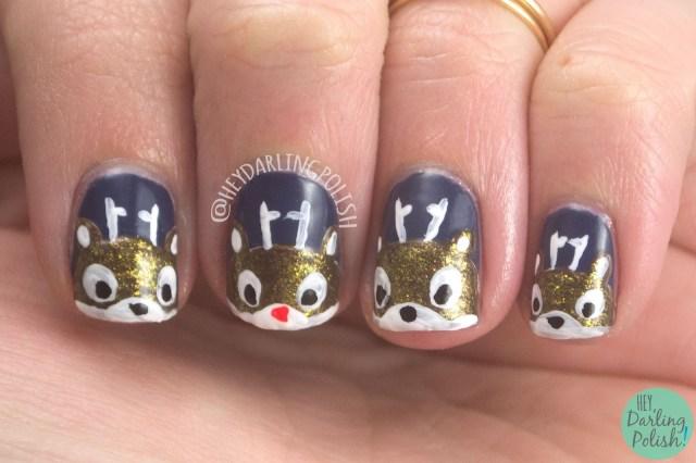 nails, nail art, nail polish, rudolph, reindeer, holiday nail art, christmas, hey darling polish, nail linkup, nailllinkup