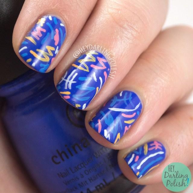 nails, nail art, nail polish, blue, pattern, hey darling polish, fun, 2015 cnt 31 day challenge