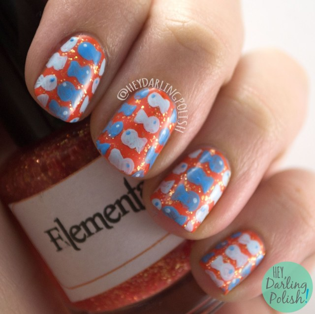 nails, nail art, nail polish, orange, blue, goldfish, fish, pattern, freehand, hey darling polish, 2015 cnt 31 day challenge