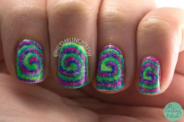 nails, nail art, nail polish, tie dye, neon, hey darling polish, sparkles, nail linkup
