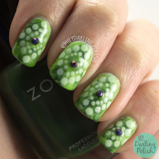 nails, nail art, nail polish, green, monochrome, monochromatic, watercolor, polka dots, rhinestones, hey darling polish, 2015 cnt 31 day challenge
