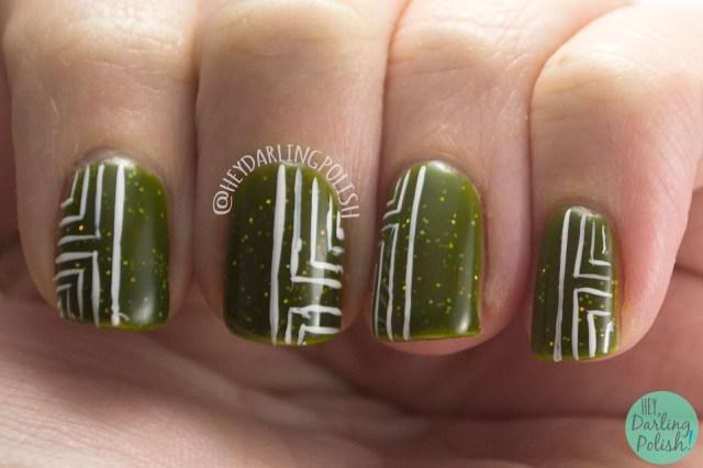 geocentricity, green, yellow, thermal, geometric, nails, nail art, nail polish, indie, indie polish, indie nail polish, hey darling polish, parallax polish,