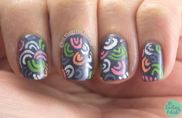 nails, nail art, nail polish, pattern, hey darling polish, cute, gothic gala lacquers,