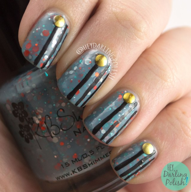 flannel surfing, blue, nails, nail art, nail polish, indie polish, kbshimmer, swatches, review, hey darling polish, glitter, glitter crelly, stripes, studs