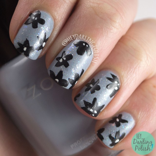 nails, nail art, nail polish, blue, flowers, floral, black, sparkle, hey darling polish, 52 week challenge