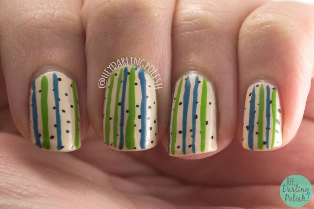 nails, nail art, nail polish, polka dots, stripes, zoya, hey darling polish,