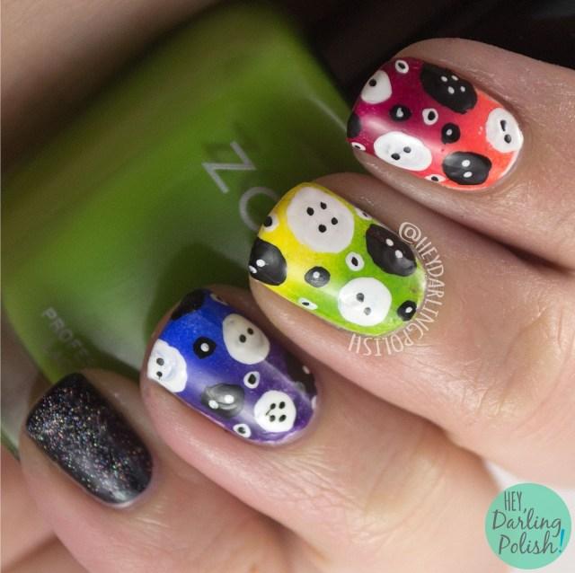 nails, nail art, nail polish, rainbow, glitter, buttons, gradient, the nail art guild, hey darling polish