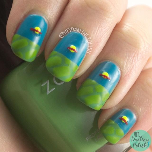 nails, nail art, nail polish, rugrats, chuckie finster, hey darling polish, 52 week challenge, studs