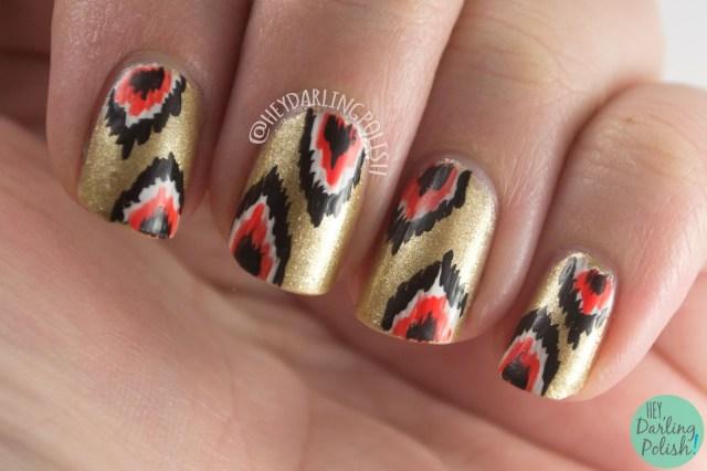 nails, nail art, nail polish, ikat, hey darling polish, metallic, 52 week challenge