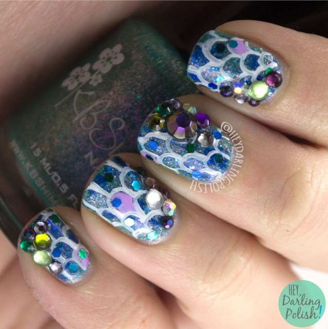 nails, nail art, nail polish, hey darling polish, mermaid, rhinestones, glitter, 52 week challenge, glitzy