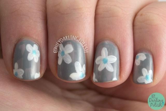 nails, nail art, nail polish, floral, flowers, zoya, satins, hey darling polish, distressed brushstroke, neutral, freehand