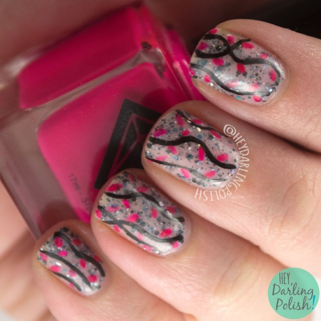 nails, nail art, nail polish, hey darling polish, glitter, 365 days of color, 52 week challenge, pink, neon,