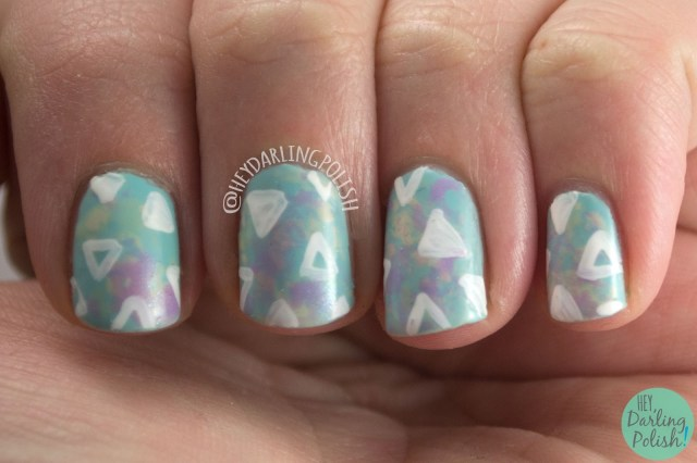 nails, nail art, nail polish, saran wrap, triangles, hey darling polish, pastels, spring
