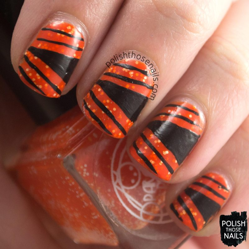 mcclung, orange, glitter, parallax polish, indie polish, secience collection, science, nail art, geometric