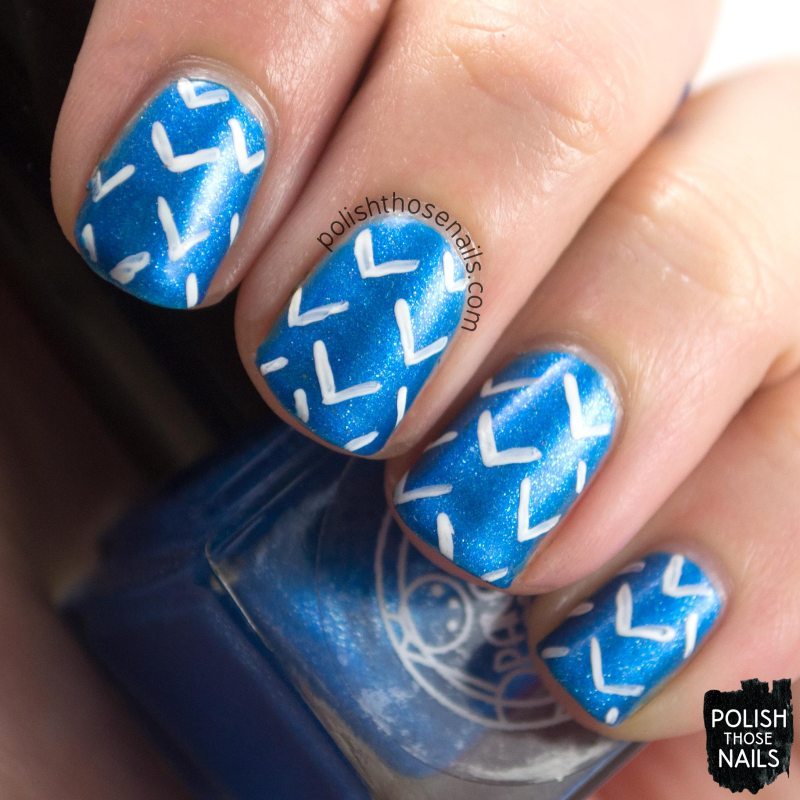 morgan, blue, shimmer, parallax polish, indie polish, secience collection, science, nail art, arrows