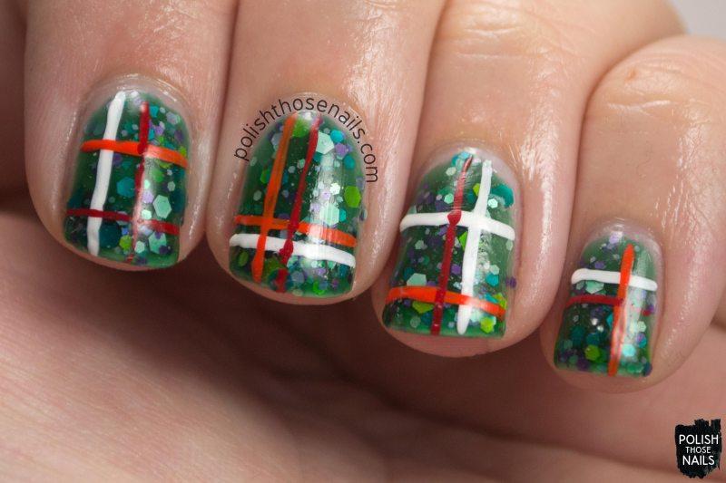 nails, nail art, nail polish, plaid, green, glitter, 52 week challenge, polish those nails