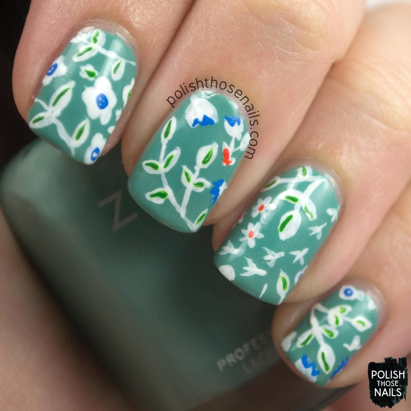 nails, nail art, nail polish, teal, pattern, floral, polish those nails, omd3, oh mon dieu 3,