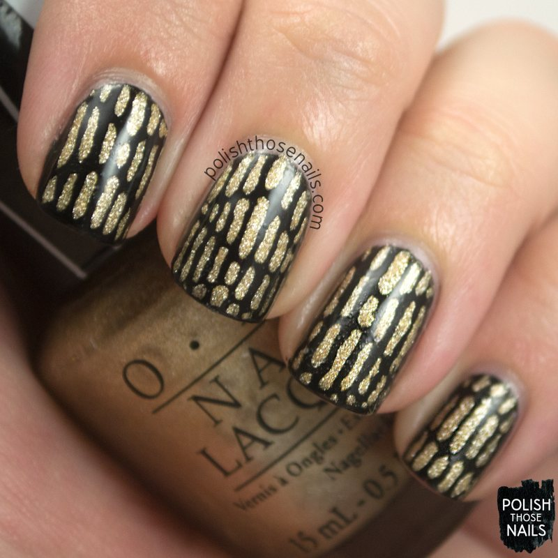 nails, nail art, nail polish, black, gold, stripes, lines, polish those nails, oh mon dieu 3, omd3