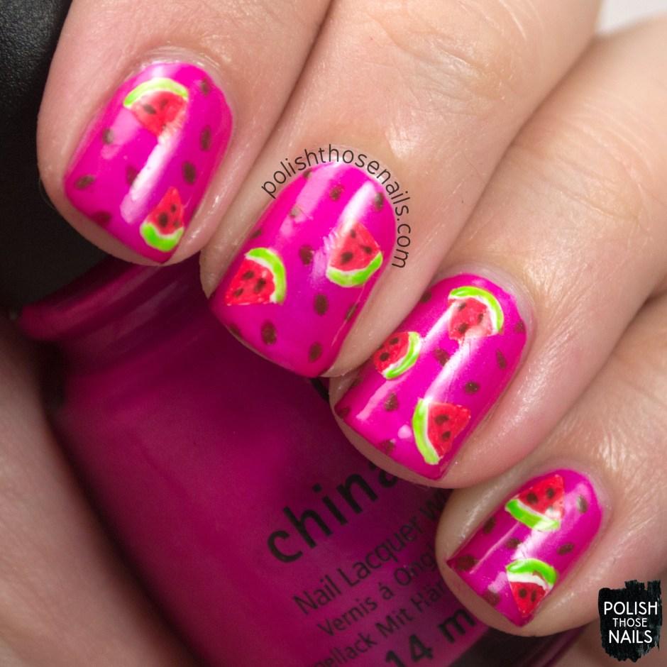 nails, nail art, nail polish, watermelon, pink, pattern, polish those nails, oh mon dieu 3, omd3