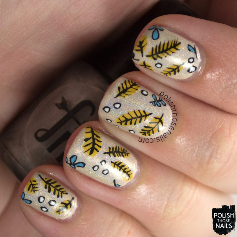 nails, nail art, nail polish, feathers, pattern, polish those nails, oh mon dieu, omd3