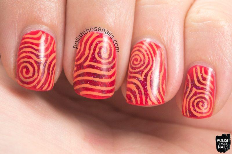 nails, nail art, nail polish, fingerprint, swirls, red, orange, polish those nails, oh mon dieu 3
