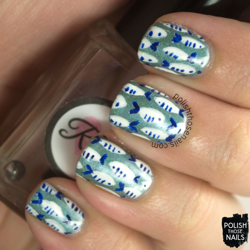 nails, nail art, nail polish, fish, polish those nails, pattern, oh mon dieu 3, omd3