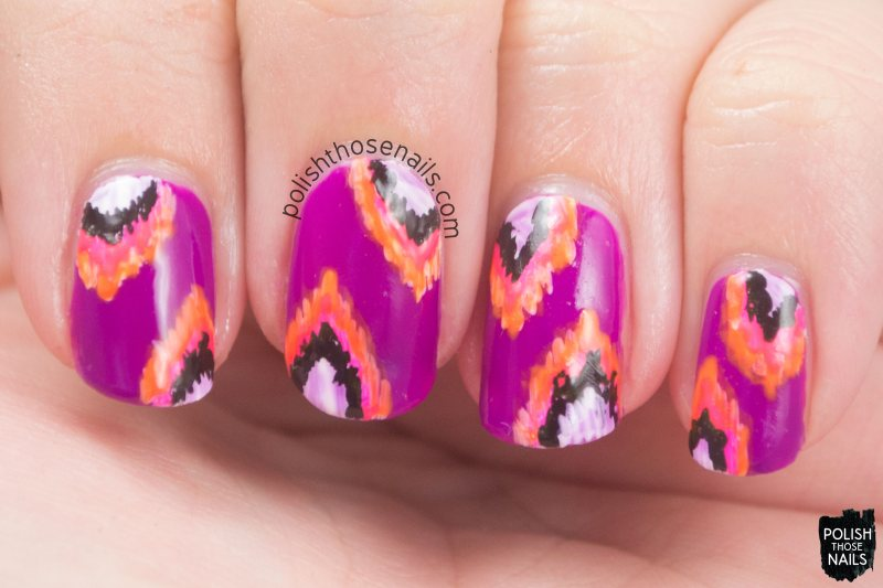 purple, ikat, pattern, hippocampus, nails, nail art, nail polish, indie, indie polish, indie nail polish, polish those nails, parallax polish