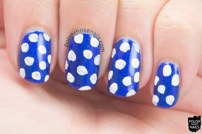 broca's area, blue, holo, polka dots, nails, nail art, nail polish, indie, indie polish, indie nail polish, polish those nails, parallax polish