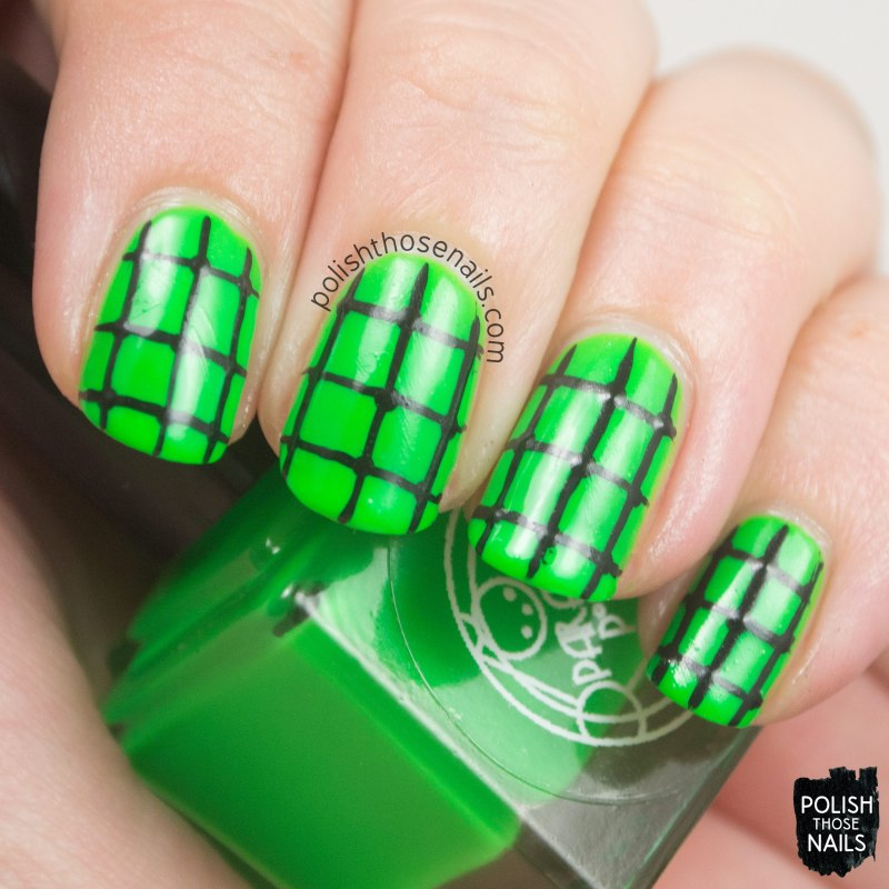 corpus callosum, green, grid, neon, nails, nail art, nail polish, indie, indie polish, indie nail polish, polish those nails, parallax polish