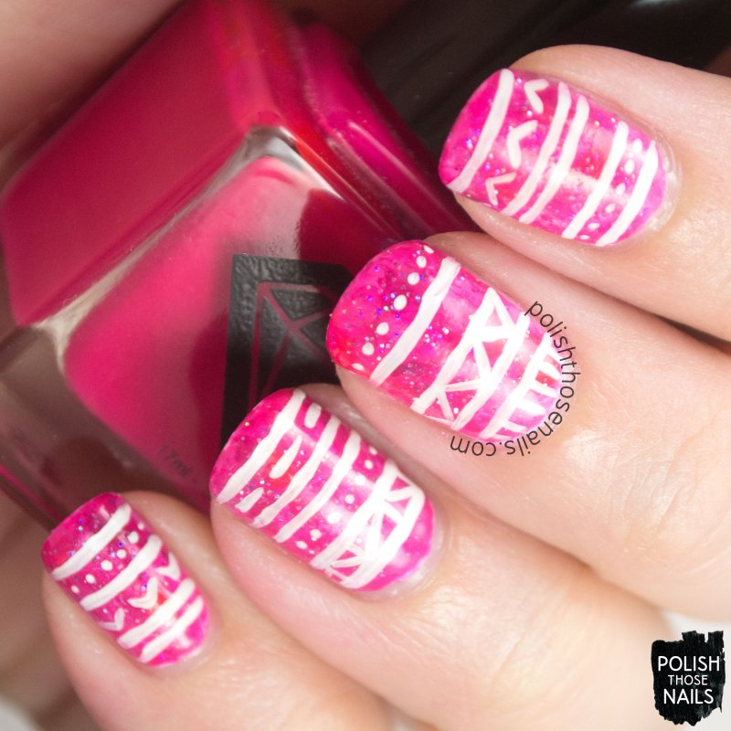 nails, nail art, nail polish, pink, bright, tribal, glitter, polish those nails