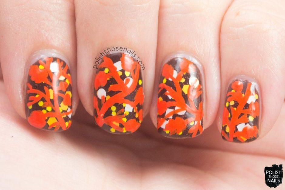 nails, nail art, nail polish, glitter, leaves, autumn nail art, polish those nails