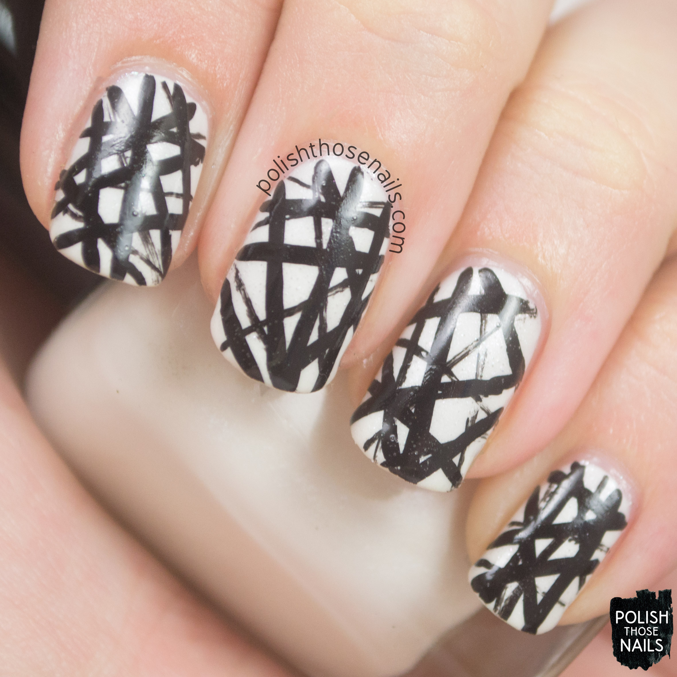 Concrete And Nail Polish Striped Nail Art: Black & White • Polish Those Nails