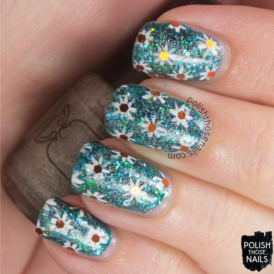 nails, nail art, nail polish, glitter, floral, polish those nails