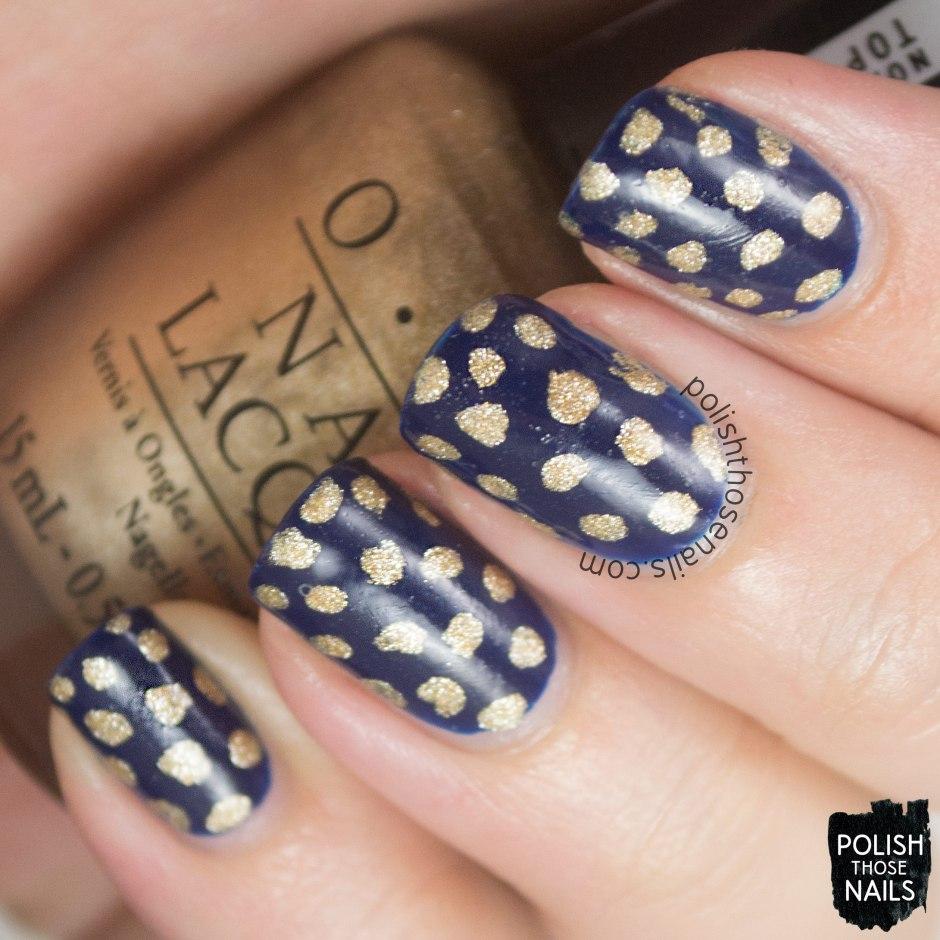 nails, nail art, nail polish, polka dots, polish those nails, navy, gold