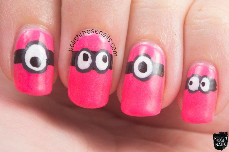 nails, nail art, nail polish, minion, pink, neon, polish those nails