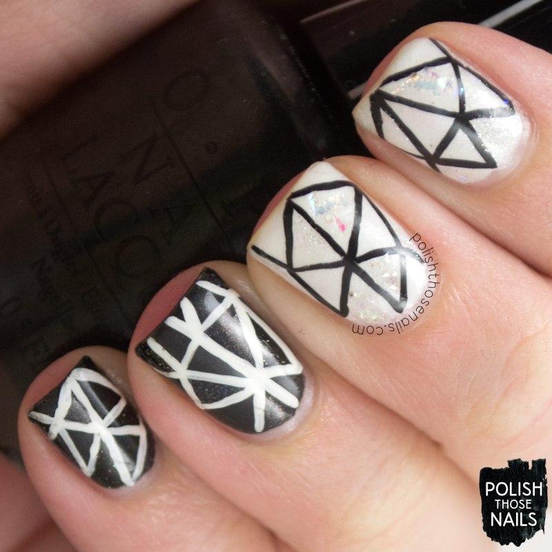 nails, nail art, nail polish, polish those nails, black & white, mosaic,