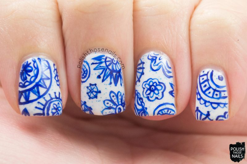 nails, nail art, nail polish, snowflakes, blue, pattern, polish those nails