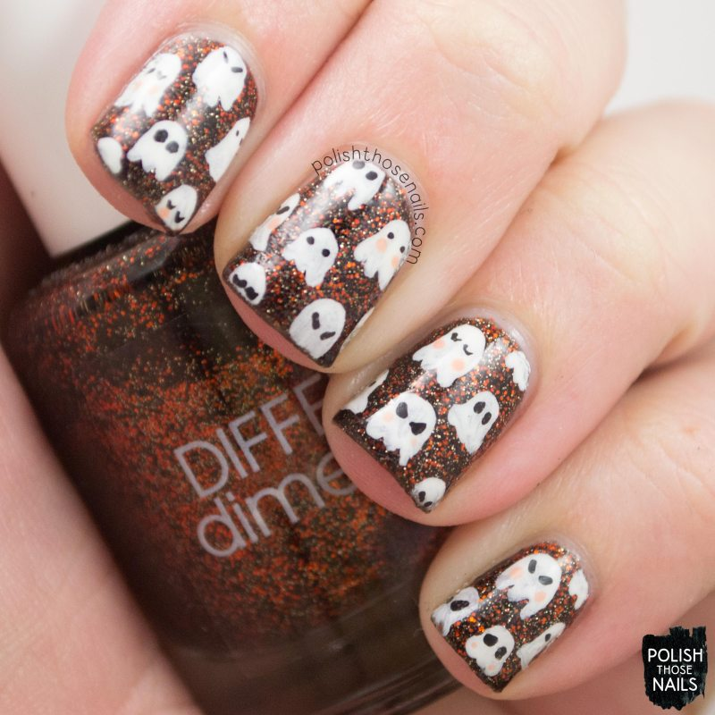 nails, nail art, nail polish, halloween, ghosts, pattern, polish those nails
