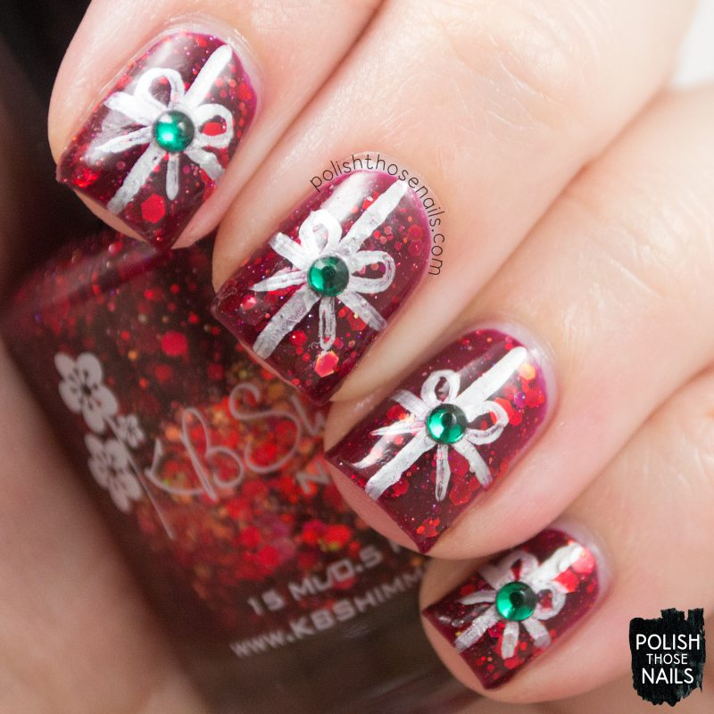 nails, nail art, nail polish, indie polish, kbshimmer leaf of faith, polish those nails, christmas nails, bows