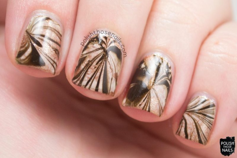 nails, brown, watermarble, polish those nails