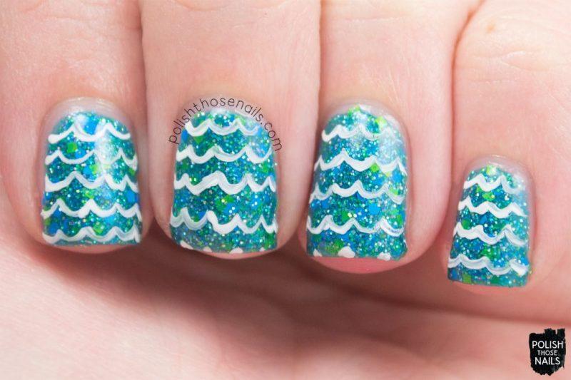 cool waters, glitter, teal, waves, nails, nail polish, indie polish, model city polish, polish those nails, nail art