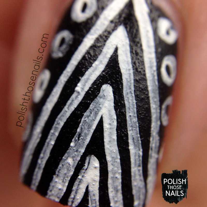 challenger deep, black, tribal, nails, nail art, nail polish, indie polish, polish those nails, parallax polish