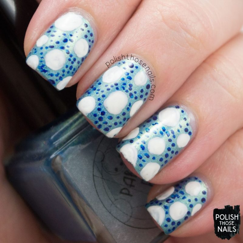 gulf stream, polka dots, nails, nail art, nail polish, indie polish, polish those nails, parallax polish, holo